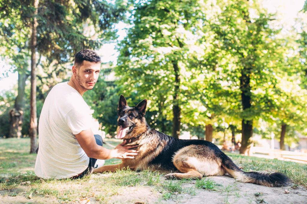 owner and the dog in the park